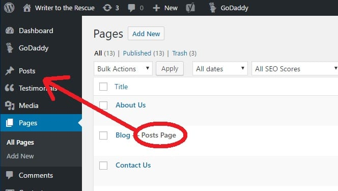 WordPress Dashboard with arrow pointing to Posts