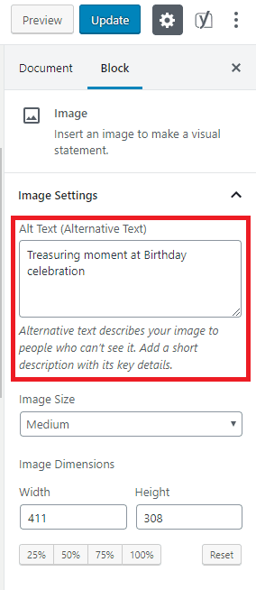 Adding alt text to image