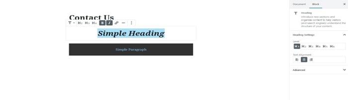 Adding text into a heading block