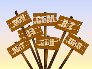 domain extensions on sign posts