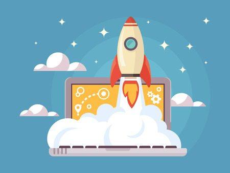 rocket flight, promotion seo, laptop and launch, vector illustration